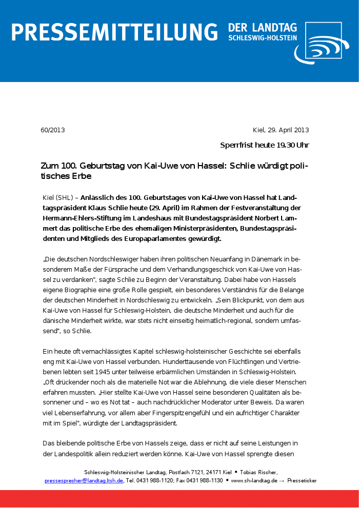 Landtag Sh Zum 100 Geburtstag Von Kai Uwe Von Hassel Schlie