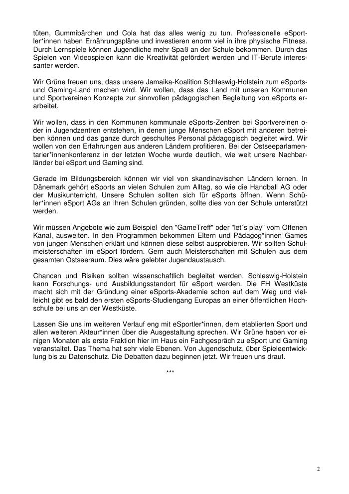 Landtag Sh Rasmus Andresen Zur Förderung Von Esports