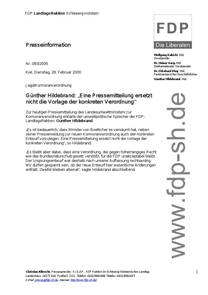 Landtag SH - Günther Hildebrand: \
