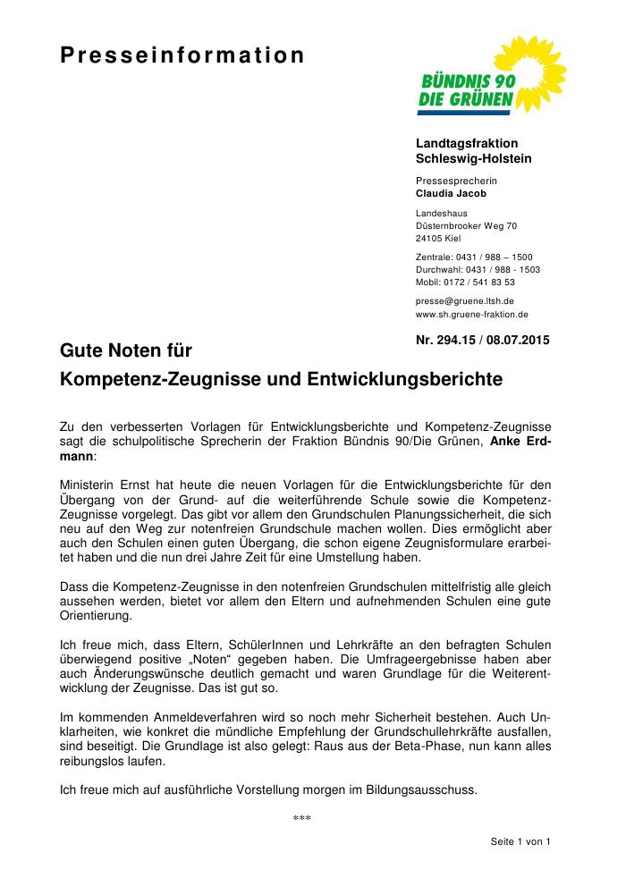 Landtag Sh Anke Erdmann Zu Den Verbesserten Vorlagen Fur Entwicklungsbericht Und Kompetenz Zeugnisse An Grundschulen
