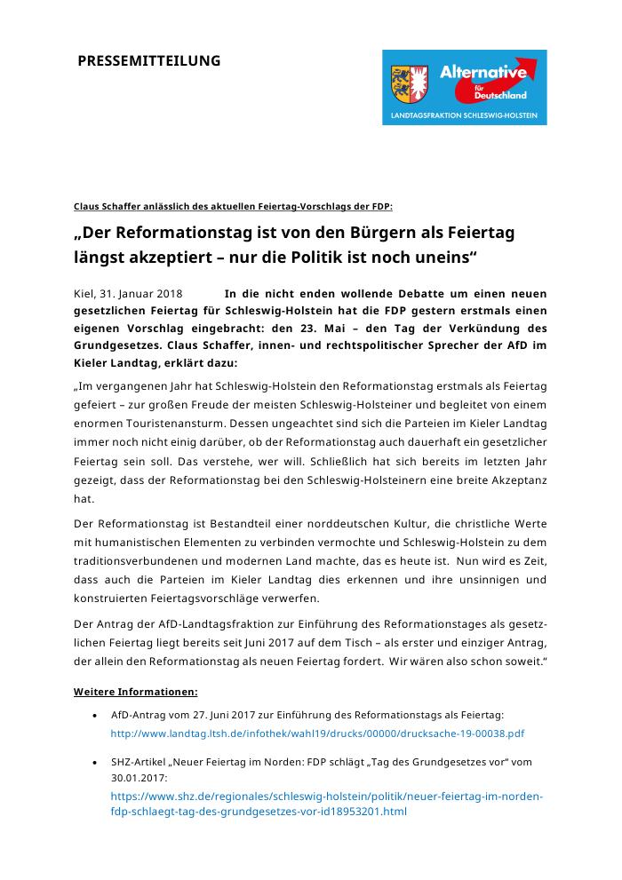 Landtag Sh Claus Schaffer Der Reformationstag Ist Von Den Bürgern
